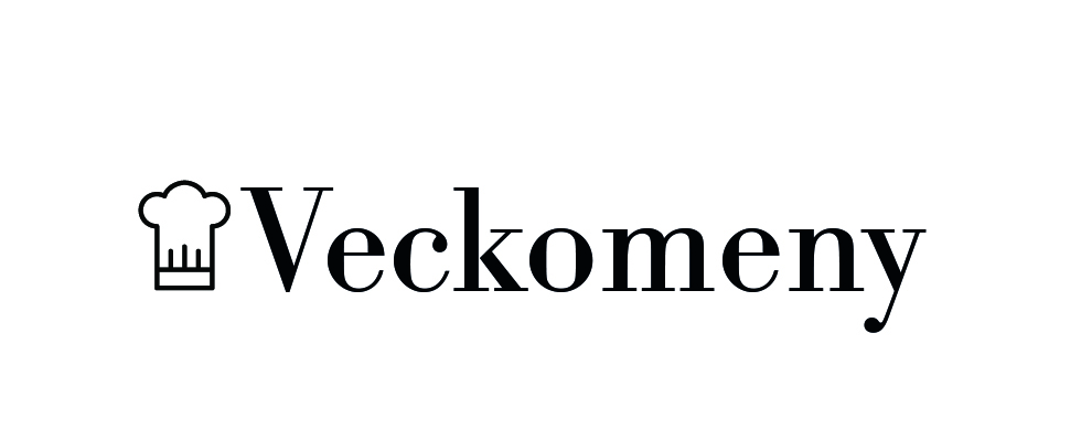 En illustrerad kockmössa med texten Veckomeny till höger