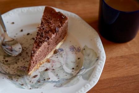 Vegansk choklad och mandeltårta