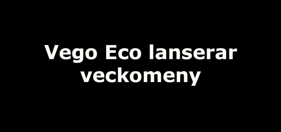 """Svart bild med vit text: """"Vego Eco lanserar veckomeny"""""""