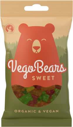 Godispåse med illustrerad björn i rostrött och texten Vego Bears Sweet i vitt på